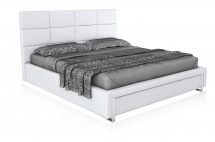 plaza white leather bed