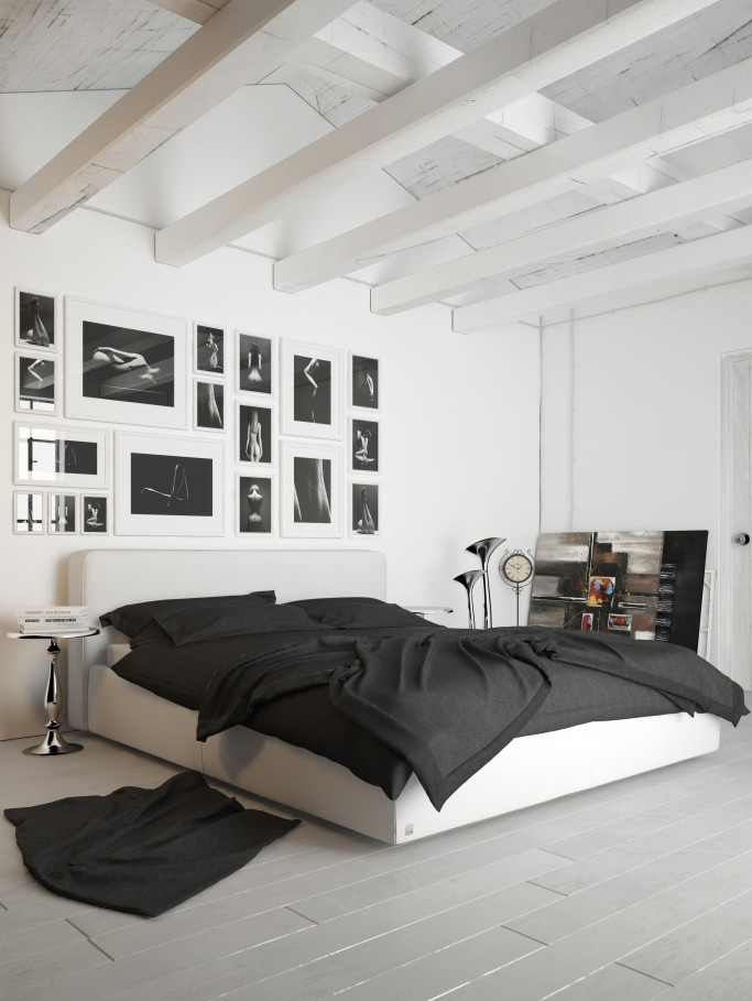 A both modern and artistic space  this bedroom looks like it could even  belong to an artist  Every room can be brought from the ordinary  simple  and boring. Modern and artistic bedroom   Miotto Design